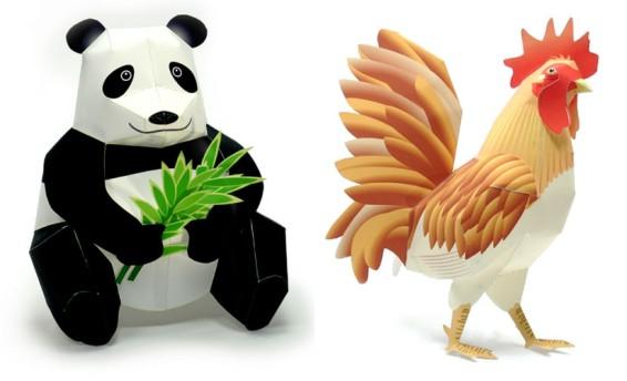 Скачать схемы поделок животных из бумаги.  Вырежь и склей - Африканские животные.